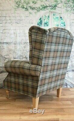 Queen Anne Wing Back Cottage Fireside Chair Lana Duck Egg Tartan Light Wood Legs