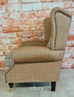 Queen Anne Wing Back Cottage Fireside Chair Orange and Blue Honeycomb Design