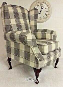 Queen Anne Wing Back Cottage Fireside Chair in Cream Grey Alderney Tartan Fabric