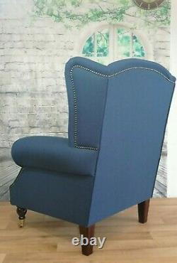 Queen Anne Wing Back Cottage Fireside Chair in Denim Blue Herringbone + Cushion