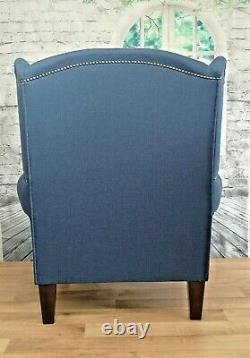Queen Anne Wing Back Cottage Fireside Chair in Denim Blue Herringbone Fabric