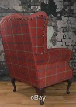 Queen Anne Wing Back Fireside Chair in Luxury Claret Deep Red Check Fabric