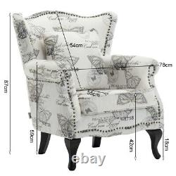 Queen Anne Wingback Fireside Armchair Chesterfield Butterfly Fabric Lounge Chair
