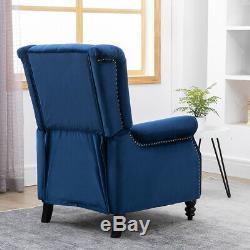 Recliner Armchair Velvet Fabric Wingback Button Tufted Fireside Sofa Chair Blue