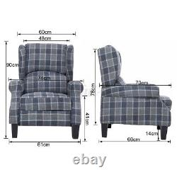 Recliner Armchair Wing Back Fireside Check Fabric Sofa Chair Lounge Cinema Chair