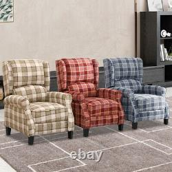 Recliner Armchair Wing Back Fireside Check Fabric Sofa Lounge Cinem