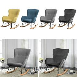 Recliner Rocking Chair Wing Back Armchair Fireside Corner Relax Sofa Upholstered