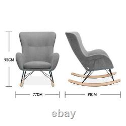 Recliner Rocking Chair Wing Back Armchair Fireside Corner Relax Sofa with Side Bag