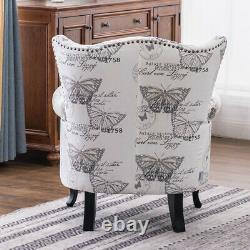 Retro Butterfly Pattern Armchair Upholstered Seat Wing Back Sofa Fireside Lounge