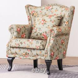 Retro Butterfly Print Wing Back Chesterfield Chair Queen Anne Fireside Armchair