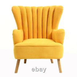 Retro Fabric Wingback Armchair Tub Sofa And Stool Set Fireside Living Room Chair
