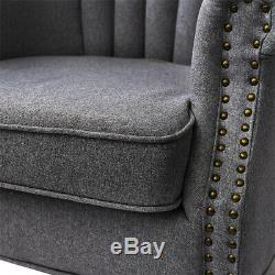 Retro Linen Fabric Armchair Queen Anne Style High Back Wing Chair Fireside Sofa