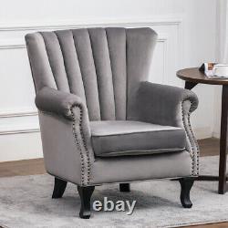 Retro Velvet Armchair Lounge Scalloped High Back Chair Queen Anne Fireside Sofa