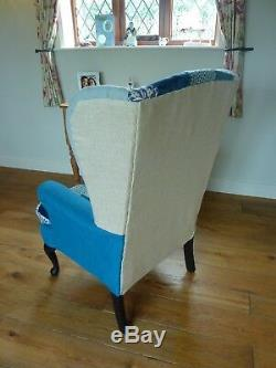 Reupholstered Blue Patchwork Wingback Chair Fireside Armchair
