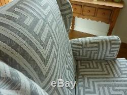 Reupholstered Grey Retro Wingback Chair Fireside Armchair