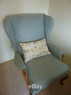 Reupholstered Parker Knoll Wingback Chair Fireside Armchair PK 918/19 Blue