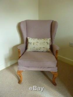 Reupholstered Parker Knoll Wingback Chair Fireside Armchair PK 918/19 Pink