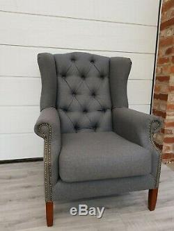#SALE# Grey Tweed Buttoned Back High Wing Back Chair/ Fireside Armchair