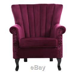 Scalloped Shell Armchair Velvet Chesterfield Wing Back Queen Anne Fireside Chair