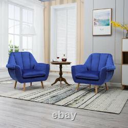 Scalloped Tulip Back Occasional Lounge Chair Tub Armchair Fireside Velvet Sofa
