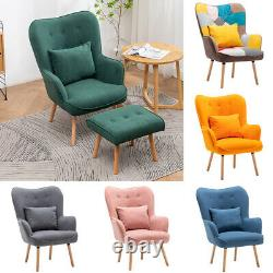Scandinavian Lounge Chair and Footstool Button Wingback Padded Fireside Armchair