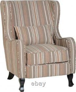 Sherborne Fireside Chair in Beige Stripe Fabric