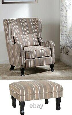 Sherborne Fireside Chair in Beige Stripe with option of stool