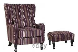 Sherborne Fireside Chair in Burgundy Stripe with option of stool