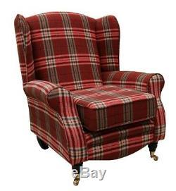 Sherlock Wingback Fireside High Back Armchair Balmoral Check Red Lounge Fabric