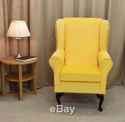 Small High Wing Back Fireside Chair Lemon Cambio Fabric Seat Easy Armchair UK