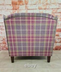 Snuggle Wing Back Cottage Fireside Chair EXTRA WIDE Balmoral Amethyst Tartan