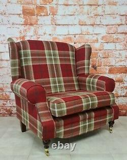 Snuggle Wing Back Cottage Fireside Chair EXTRA WIDE Balmoral Red Tartan Fabric