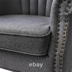 Studded Wing Back Fireside Chesterfield Armchair High Back Fabric Tub Sofa Chair