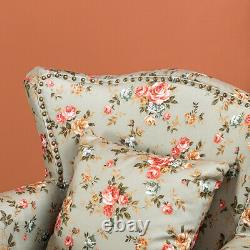 Studs Wing Back Fabric Accent Chair Chesterfield Fireside Queen Anne Armchair UK