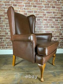 Stunning Leather Chesterfield Style Wingback Armchair Brown Fireside Chair