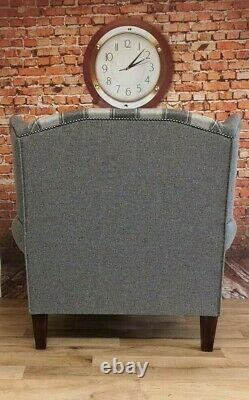 Sunggle Fireside Chair EXTRA WIDE Aldernay Grey Tartan & Plain Grey Frame