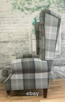Sunggle Fireside Chair EXTRA WIDE & EXTRA TALL Balmoral Oxford Blue Dark Legs