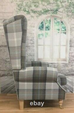 Sunggle Fireside Chair EXTRA WIDE & EXTRA TALL -Balmoral Oxford Blue Light Legs