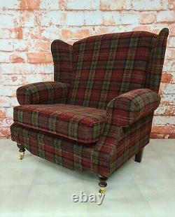 Sunggle Wing Back Cottage Fireside Chair EXTRA WIDE Lana Red Tartan