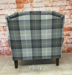 Sunggle Wing Back Fireside Chair EXTRA WIDE Balmoral Oxford Blue Tartan Fabric