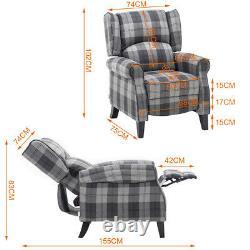 Tartan Checked Fabric Recliner Chair Sofa Wingback Fireside Armchair Cinema Seat