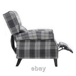 Tartan Fabric Armchair Wingback Fireside Sofa Recliner Soft Sleeper Lounge Chair