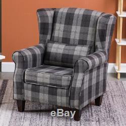 Tartan Fabric Checked Grey Armchair Chesterfield Fireside Winged Chair Tub Sofa