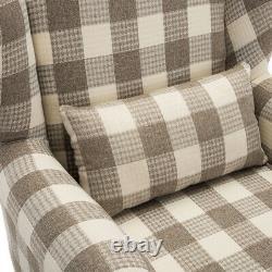 Tartan Style Fabric Upholstered Wing Back Armchair Sofa Fireside Living Room UK