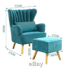 Teal Fabric Wing Back Armchair with Footstool Fireside Lounge Chair Reception
