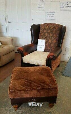 Tetrad Leather Classic Vintage Wing Back Fireside Chair and Foot Stool