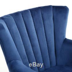 Upholster Accent Armchair Sofa Velvet Wingback Fireside Rivet Chair Bedroom Blue