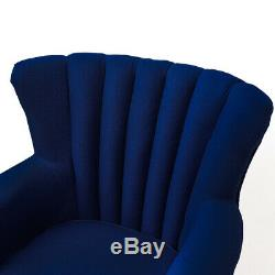 Upholstered Blue Fabric Wing Armchair Retro Sofa Chair High Back Fireside Seat