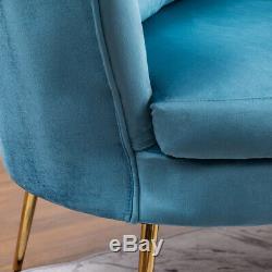 Upholstered Nordic Barrel Back Tub Chair Scallop Wing Armchair Velvet Fireside