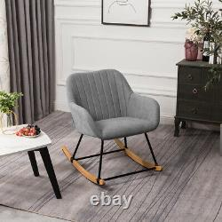 Upholstered Rocking Chair Leisure Swing Armchair Lounge Fireside Scalloped Seat
